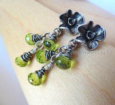 Peridot birthstone earrings. August Birthstone earrings. Flower post. Fine silver. Karen Hill tribe pure silver. Peridot jewelry. Artisan