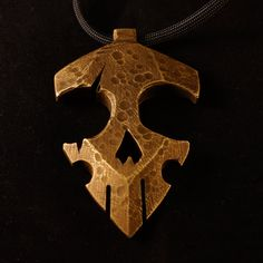 Custom reliced brass pendant. Handmade by OOAK Forge. WWW.OOAKFORGE.COM #pendant #giftforhim #ooakforge #brass #handmade #skull #art