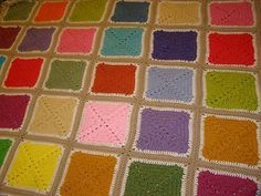 Crocheted Handmade Afghan Blanket  58 x 70 NEW LG GRANNY SQUARE, POPCORN STITCH
