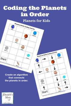 Planets for Kids: Coding the Planets in Order - Kids will create an algorithm by connecting the planets in order. Technology for Kids Computer Lessons, Computer Coding, Computer Science, Kids Computer, Funny Computer, Computer Class, Planets Activities, Science Activities, Science Books