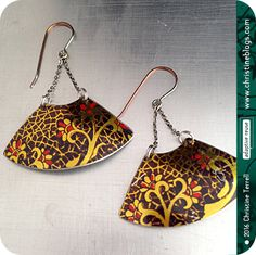 Vintage Chocolate & Golden Crackle Texture—Upcycled Tin Earrings by christineterrell on Etsy