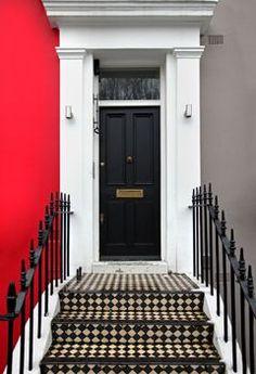 Black doorway by ttatty. Black entrance door on traditional London house Entrance Doors, Doorway, Front Doors, Purple Door, Knobs And Knockers, Stair Steps, London House, Secret Places, House Extensions