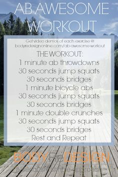 """""""Ab Awesome"""" Workout, from https://bodyredesignonline.com/ab-awesome-workout/"""