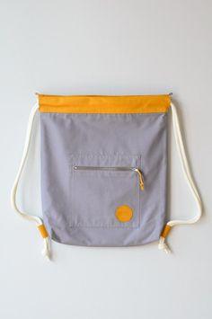Turnbeutel - Turnbeutel Eisbach Uni Grau/Gelb - ein Designerstück von remembermebags bei DaWanda