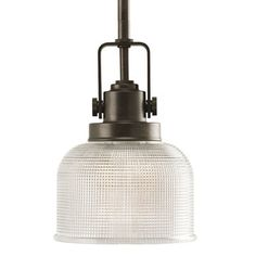 1 light mini pendant with finely crafted strap and knob details and double prismatic basement lighting options 1