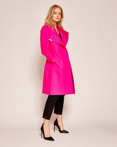 Cashmere-blend wrap front coat - Fuchsia | Jackets and Coats | Ted Baker UK