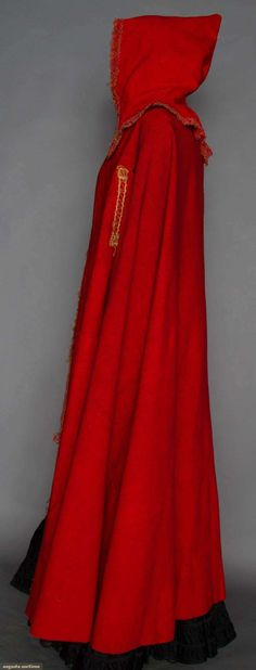 Wool broadcloth hooded cloak with silk trim.  Turn of 19th century.  Augusta Auctions