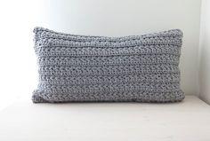 Big grey crocheted pillow