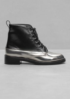 & Other Stories | Silver Lace-Up Leather Boots
