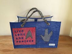 #LLAP #startrek #spock green - Reusable shopping bag made out of 44 recycled single use plastic bags!! The real green choice in reusable bags. www.ReMaterialise.co.nz