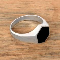 Sterling Silver and Black Resin Hexagonal Signet Ring - Bold Hex | NOVICA School Rings, Signet Ring, African Fashion, Jewlery, Resin, Artisan, Sterling Silver, Black, Jewerly