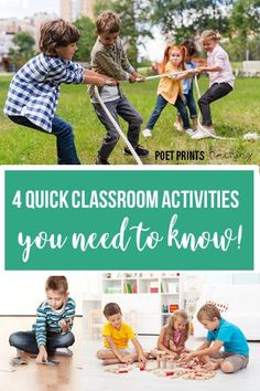 These are my four favorite activities to keep on hand for 'those days' where it seems like nothing is going right in the classroom. These are quick and easy ways to get out wiggles, take a brain break, and mentally re-set! Classroom Routines, Classroom Activities, Class Activities, Educational Activities, Classroom Ideas, School Games, Teaching Tips, Teaching Strategies, Parents