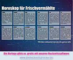 Jahreshoroskop für das Brautpaar als Vorlage für eine Hochzeitszeitung. Hochzeitszeitungen, Kirchenhefte und vieles mehr spielend einfach selber gestalten bei www.diehochzeitsdrucker.de.