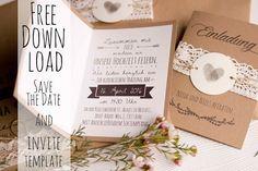 Hochzeitseinladung aus Kraftpapier kostenloser Download - rustic wedding invitation free template download and font tips