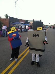Lego Superman & Lego Batman: Halloween 2012  First Costumes to ever make...I think they turned out amazing. Now to see if I can top this for next year, boys are already thinking of ideas :)