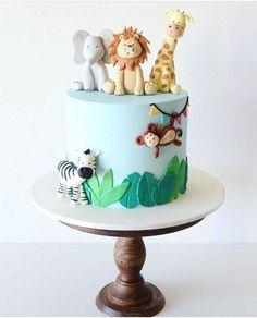 Jungle Birthday Cakes, Jungle Theme Cakes, Fish Cake Birthday, Baby Boy Birthday Cake, Animal Birthday Cakes, Safari Cakes, Wild One Birthday Party, First Birthday Cakes, Cakes For Baby Boy