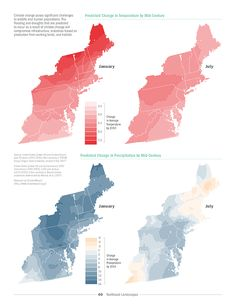Temperature & Precipitation: Landscapes of the Northeast Megaregion in the United States from a Report by Regional Plan and Association America Site Analysis Architecture, Architecture Diagrams, Architecture Graphics, Landscape Architecture, Landscape Design, City Layout, Map Layout, Location Analysis, Urban Mapping