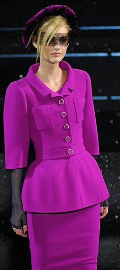 Lovey suit - lovely color. I'd consider keeping the lace bit over the eyes, but no to the hat and the face lace being worn together.
