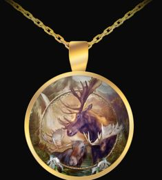 Spirit Of The Moose Dreamcatcher design in a lovely gold-plated round pendant necklace, featuring the art of Carol Cavalaris. Ring Necklace, Pendant Necklace, Dreamcatcher Design, Dream Catcher Art, Round Pendant, Wearable Art, Moose, Spirit, Chain