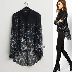 Encantos estilo europeu sexo translucidez camisa manga comprida lapela impressão refrescante blusa(China (Mainland))