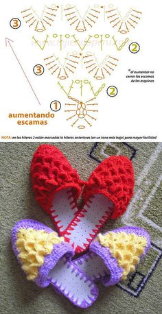Crochet mule slippers: free charts Slippers are not cute but check out the sole and attaching it. Stitch Crochet, Knit Or Crochet, Crochet Gifts, Crochet Stitches, Crochet Baby, Free Crochet, Crochet Patterns, Crochet Flip Flops, Crochet Slippers