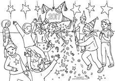 2017 New Year pinata colouring page