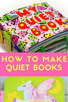 Quiet Books are ideal to keep little ones busy whilst learning. Pages are normally created around a specific theme and Development and sensory activities are included. #busybook #quietbook #quietbooks
