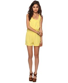 $9.88 FOREVER21Relaxed Racerback Romper in Yellow. Suuuuper cheap! Bright and simple, so appealing.