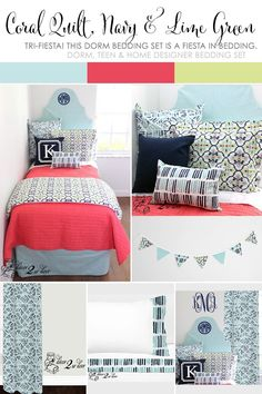 Mint and Navy Nautical Dorm Room. Dorm Décor and More! Available in ...