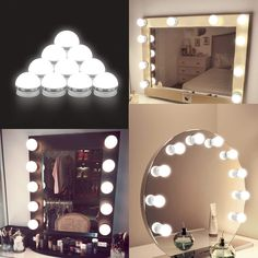 Coolmade Vanity Lights Kit Hollywood Style Makeup Light Bulbs with Stickers Attached to Bathroom Wall Or Dressing Table Mirrors, with Dimmable Switch and Power Plug, Daylight, Mirror Not Included Image 1 of 9 Vanity Table Set, Vanity Room, Vanity Set Up, Closet Vanity, Small Vanity, Hollywood Lights, Hollywood Style, Hollywood Mirror Diy, Diy Vanity Mirror With Lights