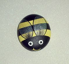 Bumble Bee painted rocks yellow black summer honey bee, hand painted rocks by RockArtiste, $20.00