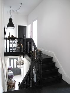 Black banister and spindles