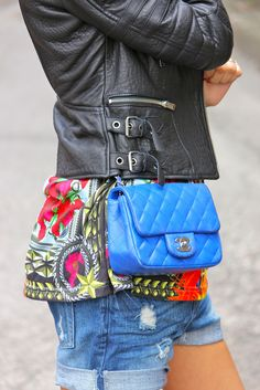 Gorgeous bright blue #Chanel bag.