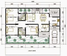 contoh koleksi gambar sketsa rumah sederhana type 36 jumlah 3-4 kamar minimalis modern satu lantai lengkap
