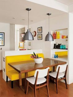 15 Dining Benches That Will Make You Want to Be a Bench Warmer, not the yellow, but overall vibe of this pic