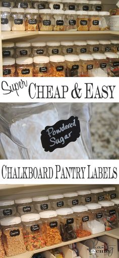 Labels ~ Chalkboard Labels for the Pantry! Easy DIY Chalkboard Labels from // Perfect way to your pantry!Easy DIY Chalkboard Labels from // Perfect way to your pantry! Kitchen Pantry, Kitchen Storage, Organized Kitchen, Pantry Storage, Kitchen Ideas, Pantry Room, Storage Jars, Pantry Ideas, Kitchen Shelves