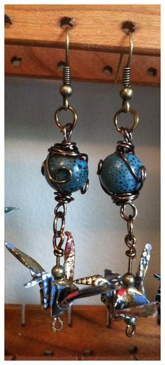 Wire wrapped Ceramic Glazed Bead and Origami by WhiteCraneGifts, $28.00