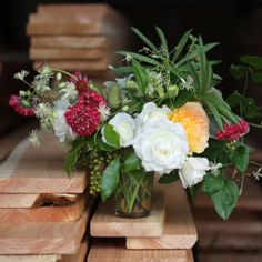 Natural rose and wildflower centerpiece