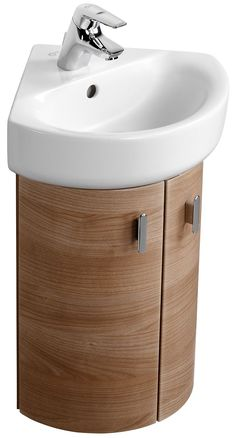 Corner Curve Wooden Vanity Furniture With Two Curved Style Wooden Doors And Unique White Sink Also Small Bathroom