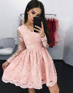 Pink lace v neck short prom dress, homecoming dress,BD3106