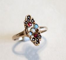 Victorian Opal Ruby Pearl Rose Gold Ring Size 7.5