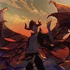 Fantasy Demon, Dark Fantasy Art, Magical Creatures, Fantasy Creatures, Ange Demon, Fantasy Images, Fantasy Inspiration, Dark Anime, Cute Anime Guys