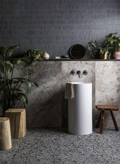 Silica Taupe Porcelain Mandarin Stone, Black Taps, Stone Bathroom, Pebble Grey, Decorative Tile, Porcelain Tile, Bathroom Inspiration, Industrial Style, Basin