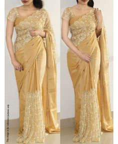 Fetching Cream color Two Tone Paper Silk Designer Saree with un-stitched Blouse . It contained the Embroidery with border work. The Blouse can be customized up to bust size The Unstitch Saree Length Mtr including Mtr Blouse. Simple Sarees, Trendy Sarees, Stylish Sarees, Fancy Sarees, Cutwork Saree, Lace Saree, Embroidery Saree, Chiffon Saree, Hand Embroidery