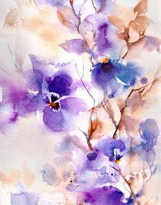 Abstract Purple Flowers Watercolor Painting Art Print, Floral Modern Wall Art, Watercolor Art