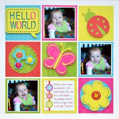 Tiny Treasures Baby Scrapbook Layout Idea from Creative Memories using Tiny Treasures Cricut cartridge and Candy Cane Paper, instructions http://projectcenter.creativememories.com/photos/our_newest_project_ideas/tiny-treasures-baby-scrapbook-layout-idea.html