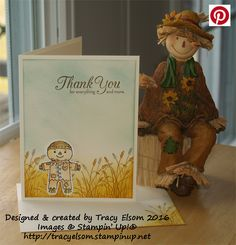 Cute thank you card created using the Cookie-Cutter Halloween Stamp Set and coordinating Cookie Cutter Builder Punch from the Stampin' Up! 2016 Holiday Catalogue (available September 1st), plus the One Big Meaning and Wetlands Stamp Sets.  http://tracyelsom.stampinup.net