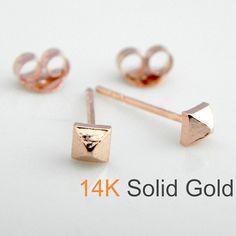 22fb1b9a7 14K solid rose gold pyramid stud earrings - stud earrings - gold stud  earrings - rose gold studs - men's stud earrings - 3mm studs E310RGold