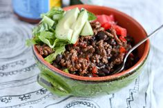 Change up your Taco Tuesday routine with these easy Taco Turkey & Black Bean Rice Bowls.