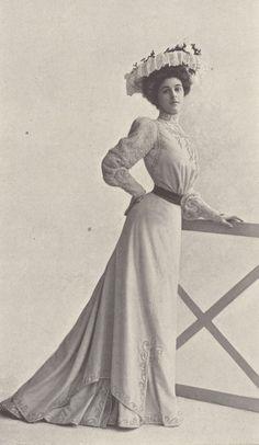1901, Septembre - Les Modes Paris - Afternoon dress by Blanche Lebouvier                                                                                                                                                      More